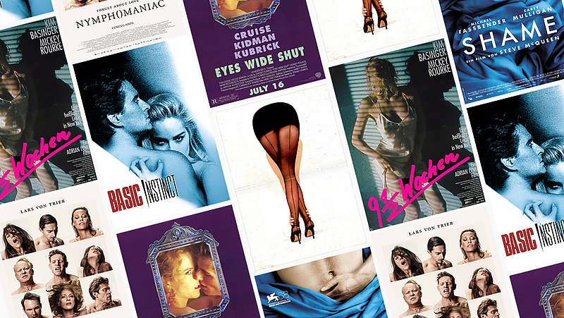 Collage aus Filmplakaten - Basic Instinct, Nymphomaniac, Shame, Eyes Wide Shut, Secretary, 9 1/2 Wochen
